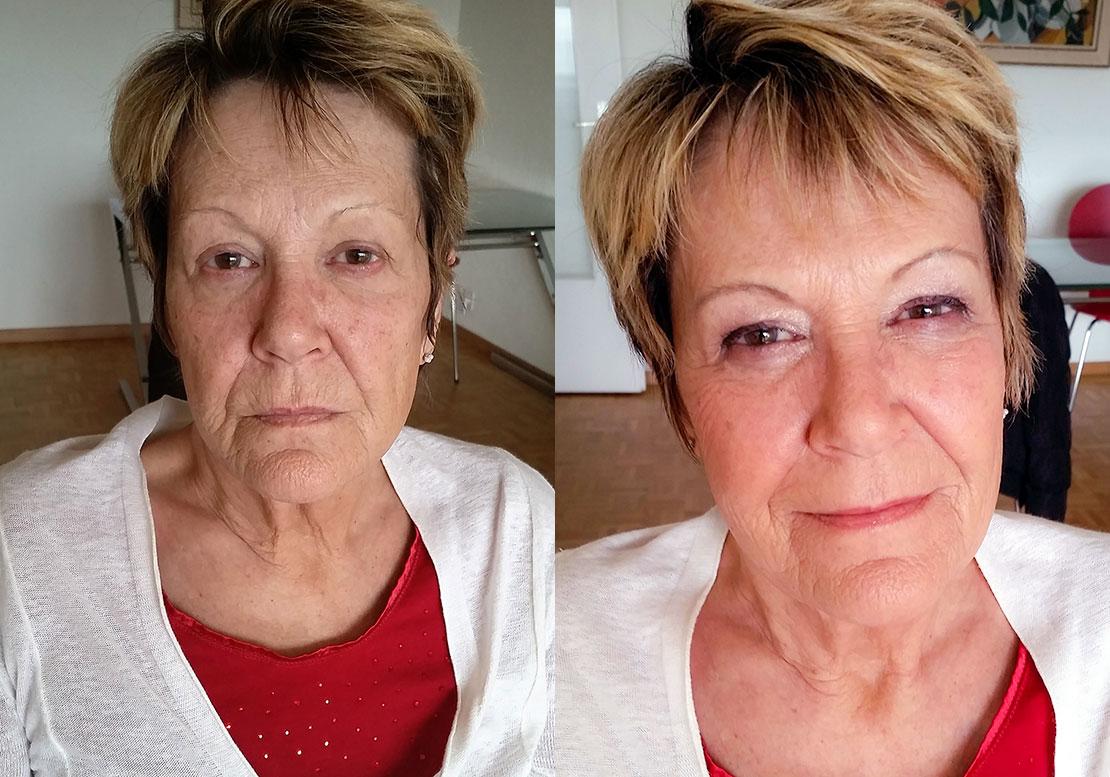 Femme retraitée - avant / après - maquillage