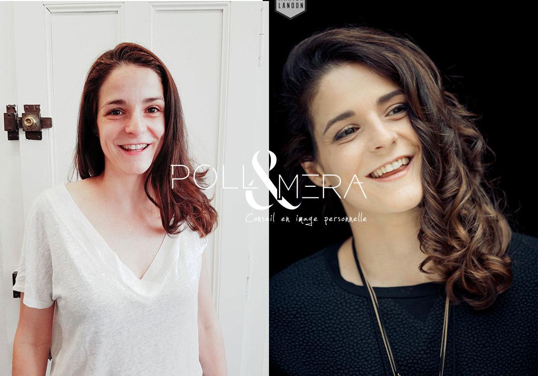 Estelle, avant/après, conseil en image et métamorphose